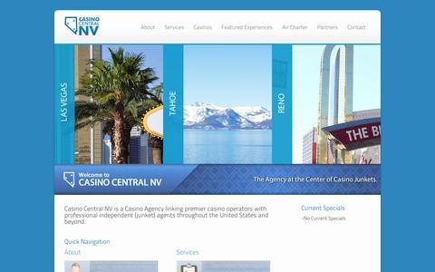 Screenshot of Home Page casinocentral-nv.com - Casino Central - The agency at the center of the casino junket. - captured Sept. 29, 2014