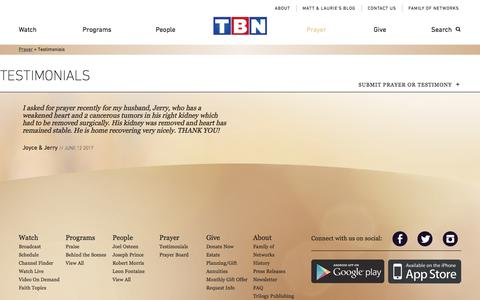 Screenshot of Testimonials Page tbn.org - Testimonials | TBN - captured June 23, 2017