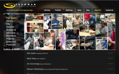 Screenshot of About Page Team Page showfab.com - The Team at Showman Fabricators | Showman Fabricators - captured Oct. 23, 2014