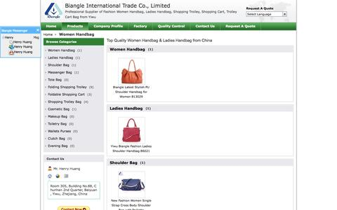 Screenshot of Products Page ywbiangle.com - Women Handbag manufacturer - best Ladies Handbag, Shoulder Bag - captured Oct. 5, 2014