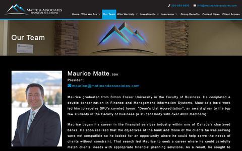 Screenshot of Team Page matteandassociates.com - Our Team   Matte & Associates Financial Solutions - captured Oct. 17, 2018