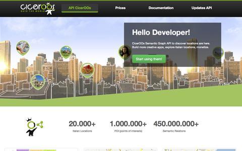 Screenshot of Developers Page ciceroos.com - CicerOOs - Semantic Graph API - captured Sept. 29, 2014