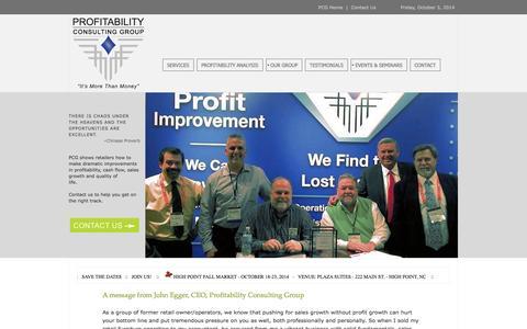 Screenshot of Home Page profitabilityconsulting.com - Profitability Consulting Group - captured Oct. 3, 2014