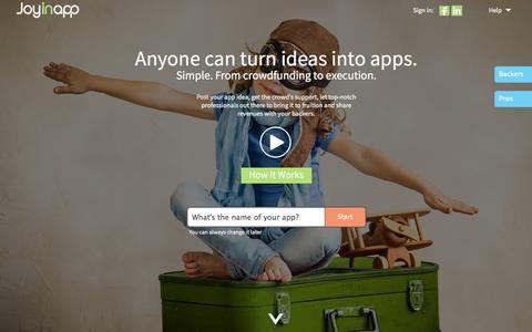 Screenshot of Home Page joyinapp.com - Joyinapp - Make dreams come true. One app at a time. - captured Sept. 30, 2014