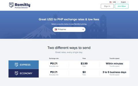 Screenshot of Pricing Page remitly.com - US Dollar to Philippine Peso Exchange Rate - captured Aug. 2, 2018