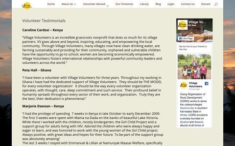 Screenshot of Testimonials Page villagevolunteers.org - Volunteer Testimonials - Village Volunteers - captured Sept. 21, 2018