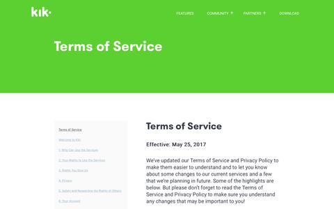 Screenshot of Terms Page kik.com - Kik Terms of Service - captured Aug. 19, 2017