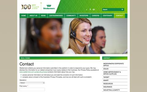 Screenshot of Contact Page wesfarmers.com.au - Wesfarmers - Contact - captured Oct. 30, 2014