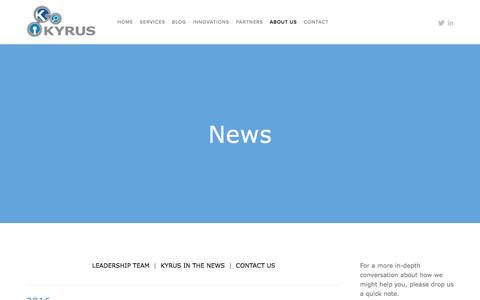 Screenshot of Press Page kyrus-tech.com - News — Kyrus - captured March 18, 2016