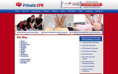 Screenshot of Site Map Page privatecpr.com - Site Map :: PrivateCPR Class Brooklyn - captured Oct. 3, 2014