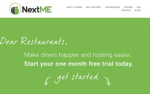 Screenshot of Pricing Page nextmeapp.com - NextMEPRICING - captured Feb. 16, 2016