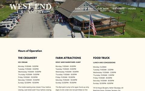 Screenshot of Hours Page westendcreamery.com - Hours - West End Creamery - captured June 23, 2016