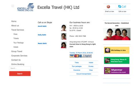 Screenshot of Menu Page excellatravel.com - Call On Skype – Excella Travel - captured Sept. 30, 2018