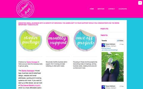 Screenshot of Home Page admindept.co.za - Admin Dept : Offsite Business Admin Support - captured Sept. 30, 2014