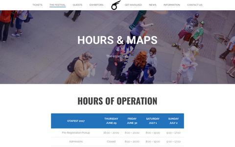 Screenshot of Hours Page otafest.com - Hours & Maps - Otafest - captured June 18, 2017