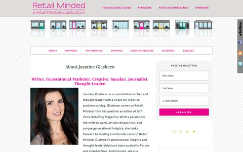 Screenshot of retailminded.com - About Jasmine Glasheen - captured May 18, 2017
