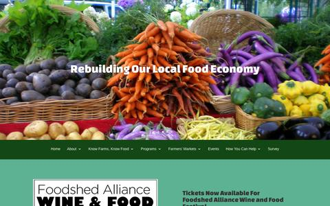 Screenshot of Home Page foodshedalliance.org - Foodshed Alliance | Building a Resilient Local Food System - captured Oct. 8, 2015