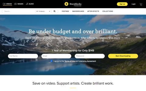 Screenshot of Home Page videoblocks.com - Videoblocks by Storyblocks - Stock Video, Footage & AE Templates - captured April 7, 2018