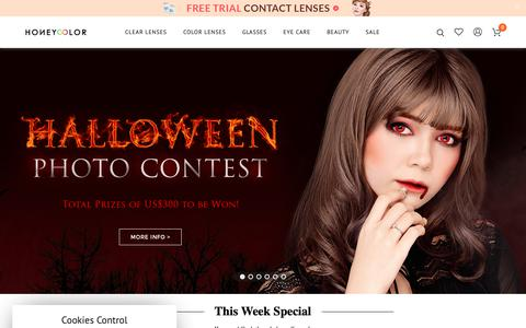 Screenshot of Home Page honeycolor.com - HoneyColor | Color Contact Lenses, Circle Lenses, Colored Contacts - captured Oct. 23, 2018
