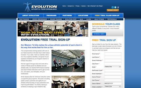 Screenshot of Trial Page evolutionsp.net - Evolution Free Trial Sign-Up | Evolution Sports Performance - captured Oct. 3, 2014