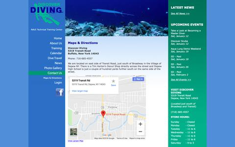 Screenshot of Maps & Directions Page ddwny.com - Maps & Directions | Discover Diving - captured Dec. 19, 2018