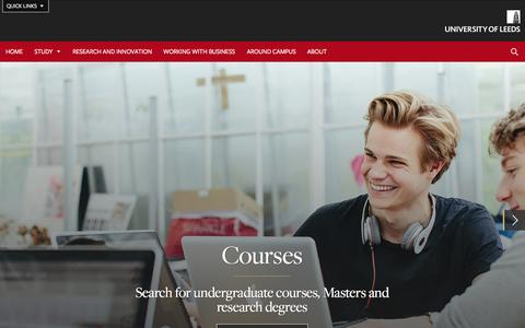 Screenshot of Menu Page leeds.ac.uk - University of Leeds - captured Nov. 23, 2015