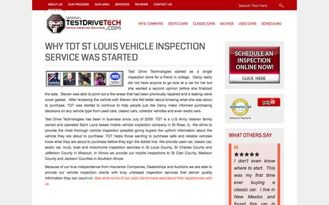 Screenshot of About Page testdrivetech.com - Why TDT St Louis Vehicle Inspection Service Was Started | Test Drive Technologies - captured Feb. 14, 2016