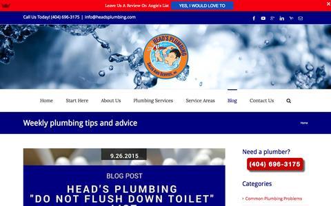 Screenshot of Blog headsplumbing.com - Plumbing Blog | Atlanta Plumber | Head's Plumbing Sales and Service, Inc. - captured Sept. 27, 2015
