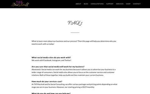 Screenshot of FAQ Page tiffmarshall.com - FAQ's « Tiff Marshall - captured July 8, 2018