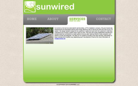 Screenshot of Services Page sunwired.net - Untitled Document - captured Oct. 7, 2014