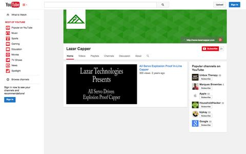 Screenshot of YouTube Page youtube.com - Lazar Capper  - YouTube - captured Oct. 22, 2014
