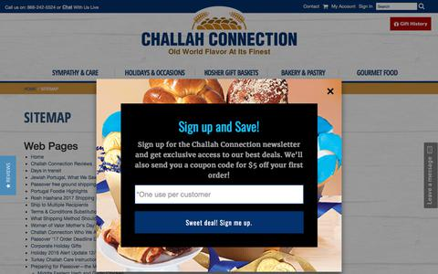 Screenshot of Site Map Page challahconnection.com - Kosher Gift Baskets | Gourmet Gift Baskets | Kosher Sympathy Gifts | Kosher Holiday Gifts | Challah Connection - captured July 17, 2018