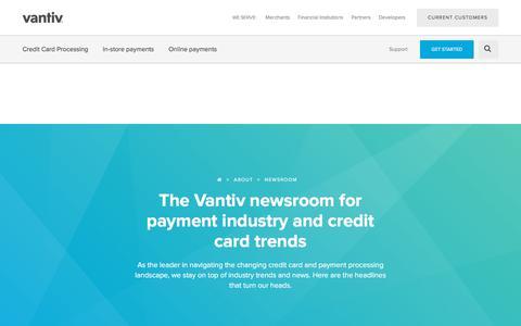 Screenshot of Press Page vantiv.com - Vantiv Newsroom & Credit Card Trends - captured Nov. 16, 2017
