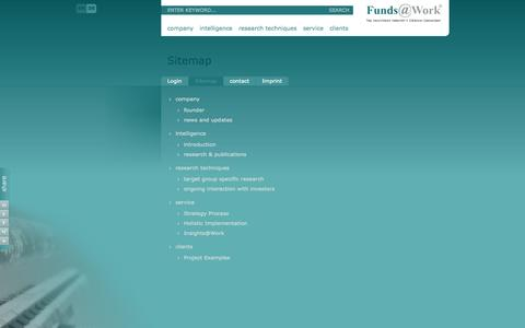 Screenshot of Site Map Page funds-at-work.com - Sitemap - Funds@Work AG - captured Oct. 6, 2014