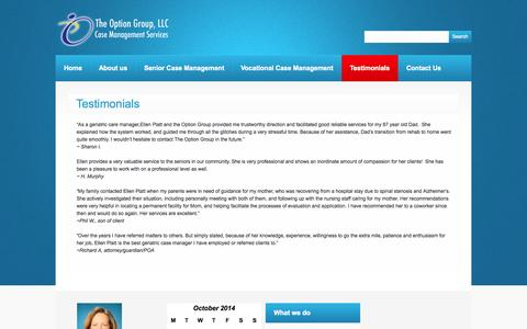 Screenshot of Testimonials Page theoptiongroup.net - Testimonials  |  The Option GroupM LLC. – Care Management and Consultation - captured Oct. 9, 2014