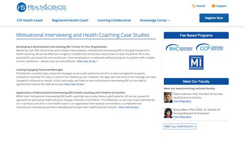 Screenshot of Case Studies Page healthsciences.org - Motivational Interviewing and Health Coaching Case Studies | Motivational Interviewing MI Health Coach CCP Certification - captured Sept. 27, 2018