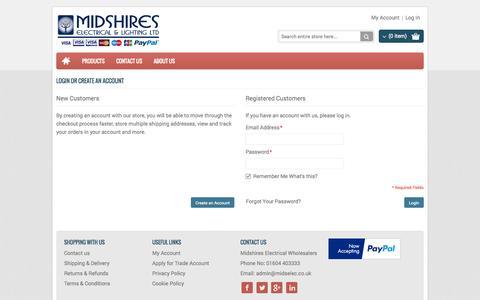 Screenshot of Login Page midselec.co.uk - Customer Login - Midshires Electrical Wholesalers - captured Nov. 3, 2014