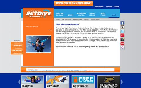 Screenshot of About Page skydiveindianapolis.com - ABOUT US | Indiana's best tandem and AFF skydiving school - captured Oct. 4, 2014