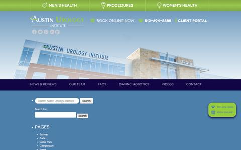 Screenshot of Site Map Page austinurologyinstitute.com - Site Map - Austin Urology Institute - captured Sept. 30, 2014