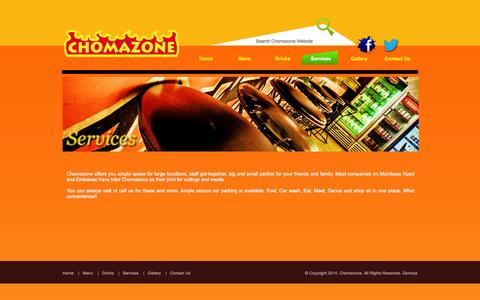 Screenshot of Services Page chomazone.co.ke - ChomaZone - captured Sept. 29, 2014