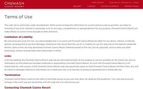 Screenshot of Terms Page chumashcasino.com - Terms of Use | The Chumash Casino Resort - captured July 30, 2017