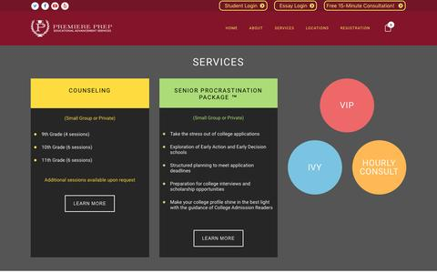 Screenshot of Services Page premiereprep.net - Services | Premiere Prep - captured May 21, 2017