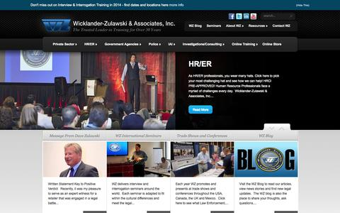 Screenshot of Home Page w-z.com - Interview and Interrogation Training for HR, LP & Police Criminal Interview Techniques. - captured Oct. 7, 2014