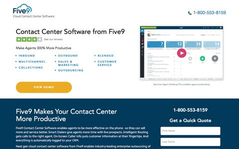 Screenshot of Landing Page five9.com - Contact Center Software | Five9 - captured Sept. 26, 2017