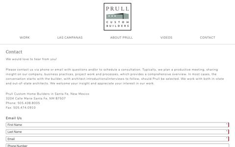 Screenshot of Contact Page prull.com - Contact - Prull Builders in Santa Fe, New Mexico - captured Sept. 30, 2018