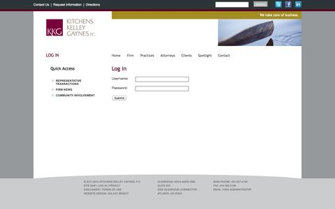 Screenshot of Login Page kkgpc.com - Kitchens Kelley Gaynes, Atlanta Law Firm: Commercial Real Estate, Corporate & Business Transactions, Bankruptcy, Workouts & Creditor Rights - captured Oct. 6, 2014
