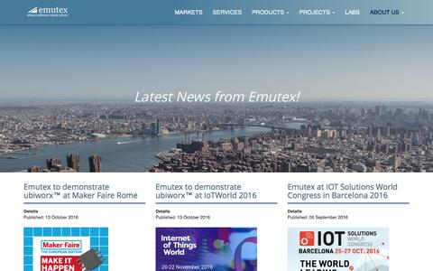 Screenshot of Press Page emutex.com - Emutex - Emutex News - captured Jan. 1, 2017