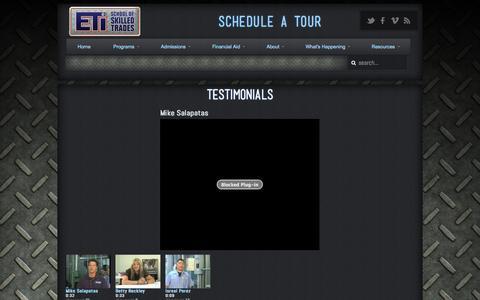 Screenshot of Testimonials Page eticampus.com - ETI School of Skilled Trades Testimonials | ETI School of Skilled Trades - captured Nov. 1, 2014
