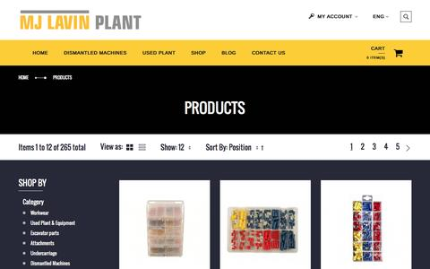 Screenshot of Products Page mjlavinplant.co.uk - Products - captured Nov. 18, 2016