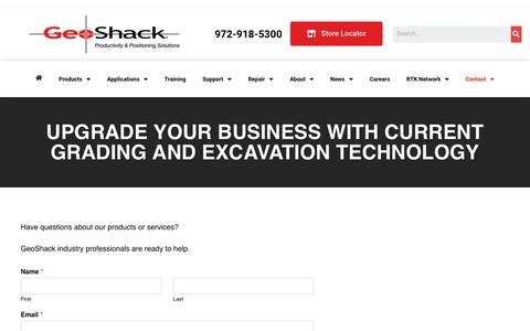 Screenshot of Contact Page geoshack.com - Contact Us - GeoShack - North America's Largest Topcon Dealer - captured Aug. 21, 2019